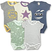 Fuar Baby 5-Pack Bodysuit, Short Sleeve, 100% Cotton, Soft Baby Clothies (3-6 Months, Mixed)