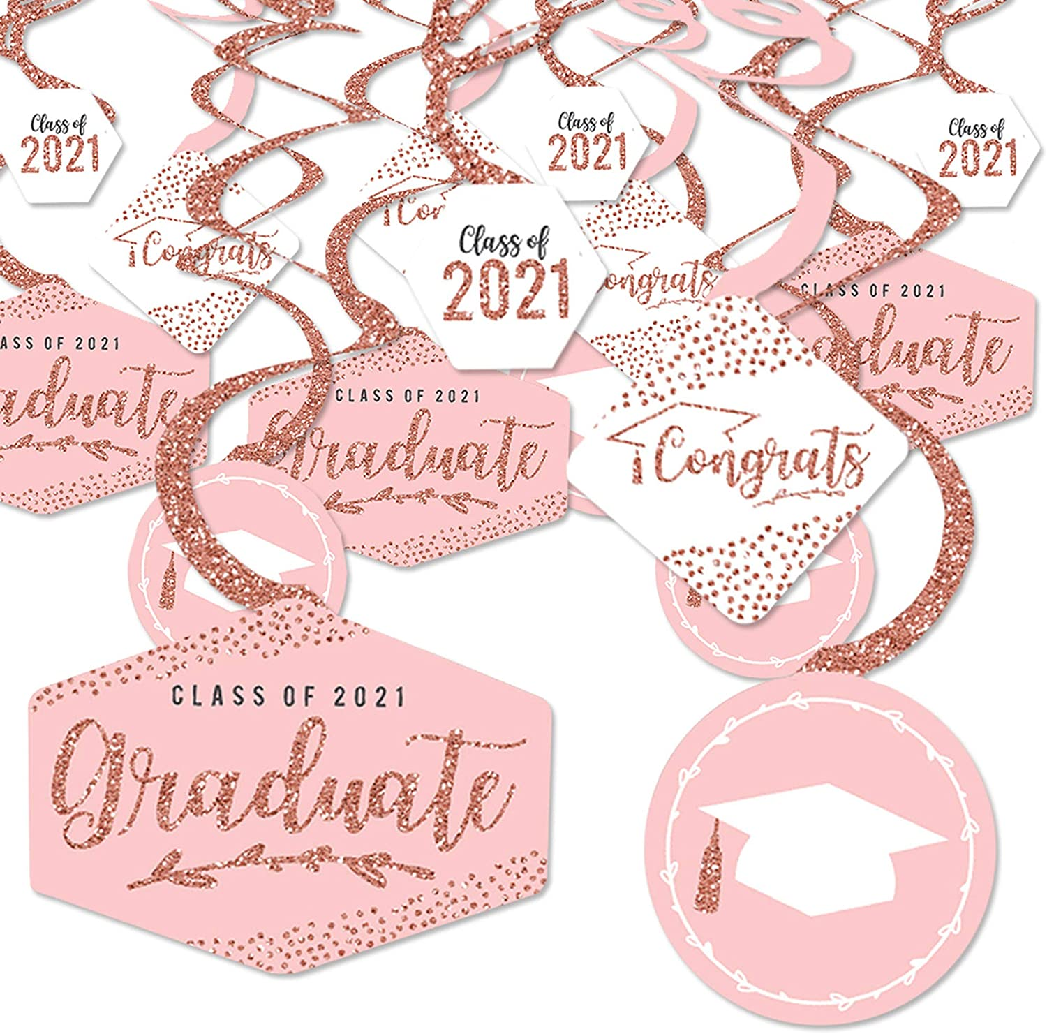 Big Dot of Happiness Rose Gold Grad - 2021 Graduation Party Hanging Decor - Party Decoration Swirls - Set of 40