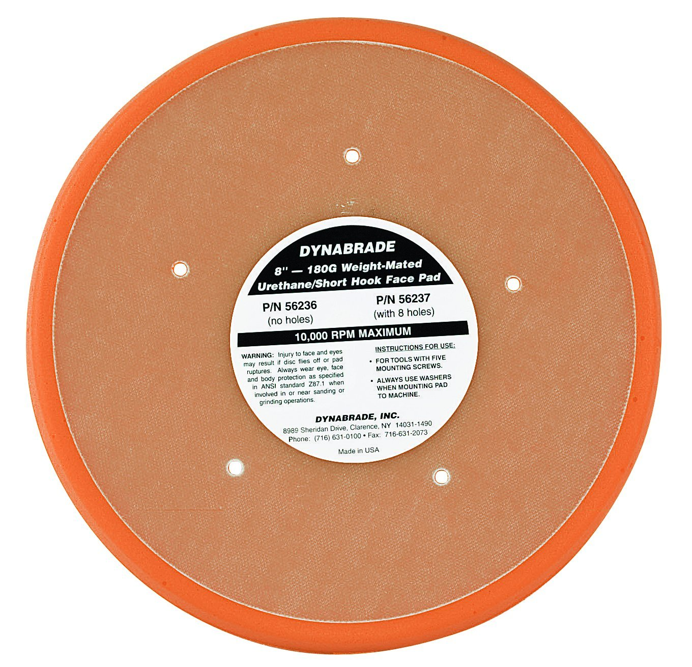 Dynabrade 56236 Non-Vacuum Disc Pad, 8-Inch Diameter by Dynabrade