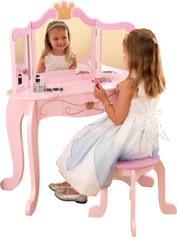 KidKraft- Princess Juego de tocador con espejo y taburete de madera