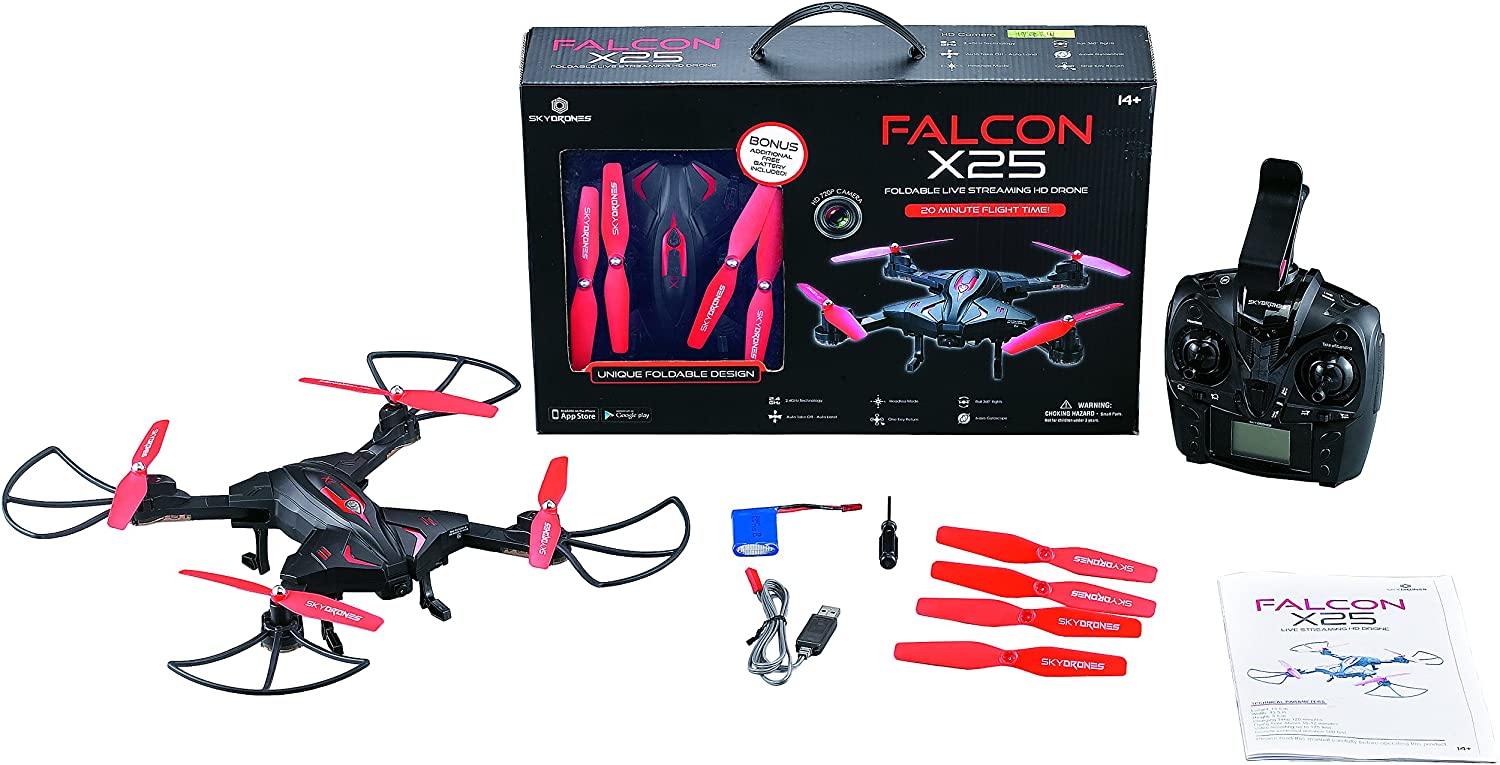 Sky Drones X25 Live Streaming Foldable Drone with Bonus Free Extra Battery Braha Industries FD2500