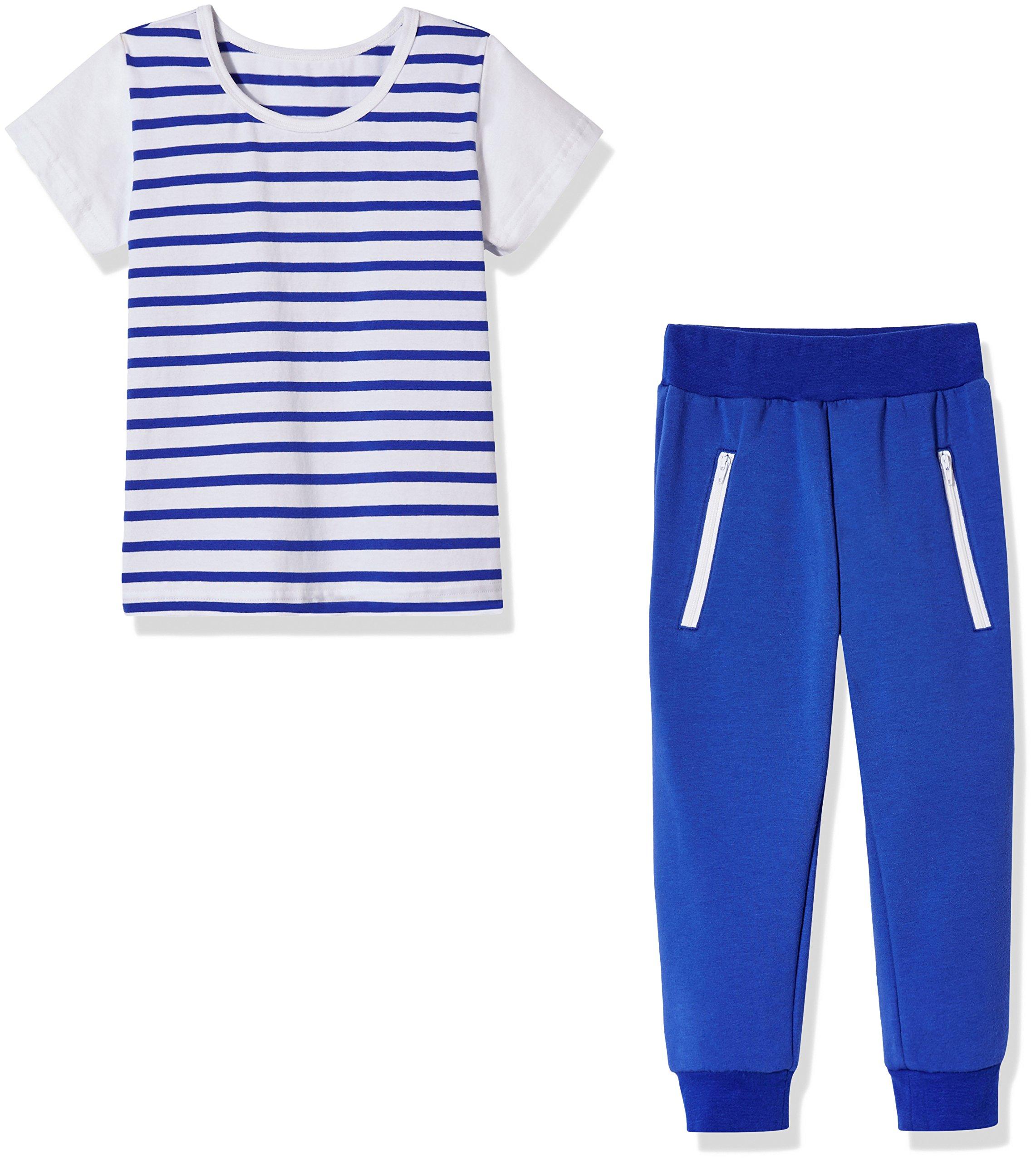 Sprout Star Boy's Stripe T-Shirt and Jogger Pants 2Pcs Cotton Set-Blue-4T