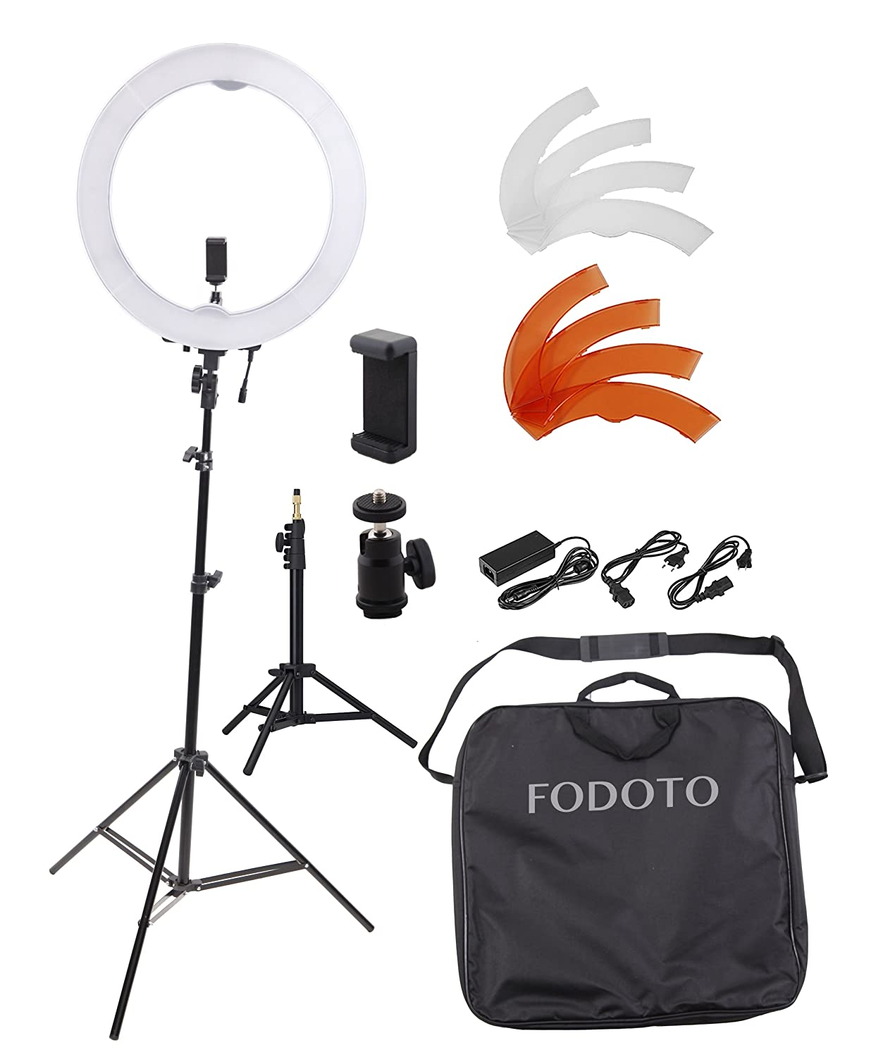 Fodoto 13 inch LED Ring Light w/ 7ft Stand & Table-Top Stand , Universal Smartphone & Camera Mounts
