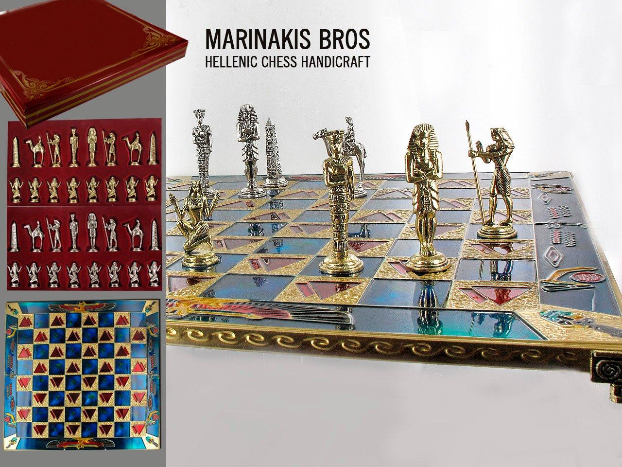 MARINAKIS BROSS Collection Egyptian Chess Set / Ägyptische Schach-Set Schach Schachspiel aus Metall 43x43cm 7,15kg Premium-Qualität Delux Chess Set, Gift box, Beste quality MARINAKIS BROSS, Greece 086-4501