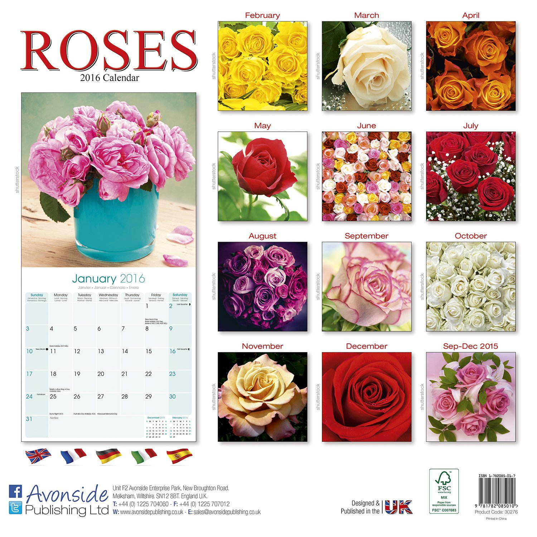 Roses Calendar 2016 Wall Calendars Garden Calendars Flower