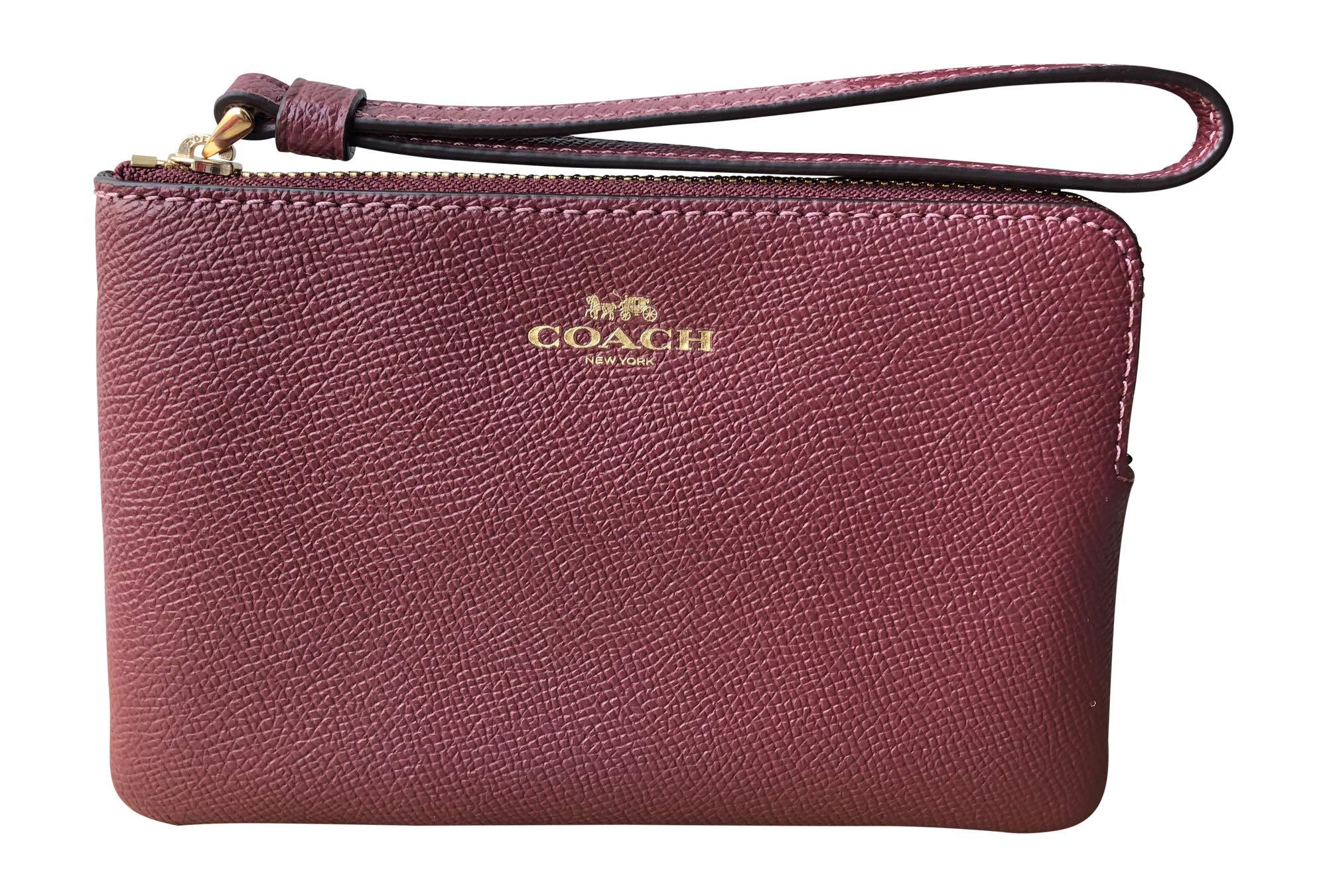Coach Crossgrain Leather Corner Zip Wristlet (Wine)