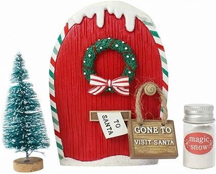 Santa/'s Elf Door Hobbit Door Handmade Christmas Tree Ornament Fairy Door Polymer Clay Hanging Pendent