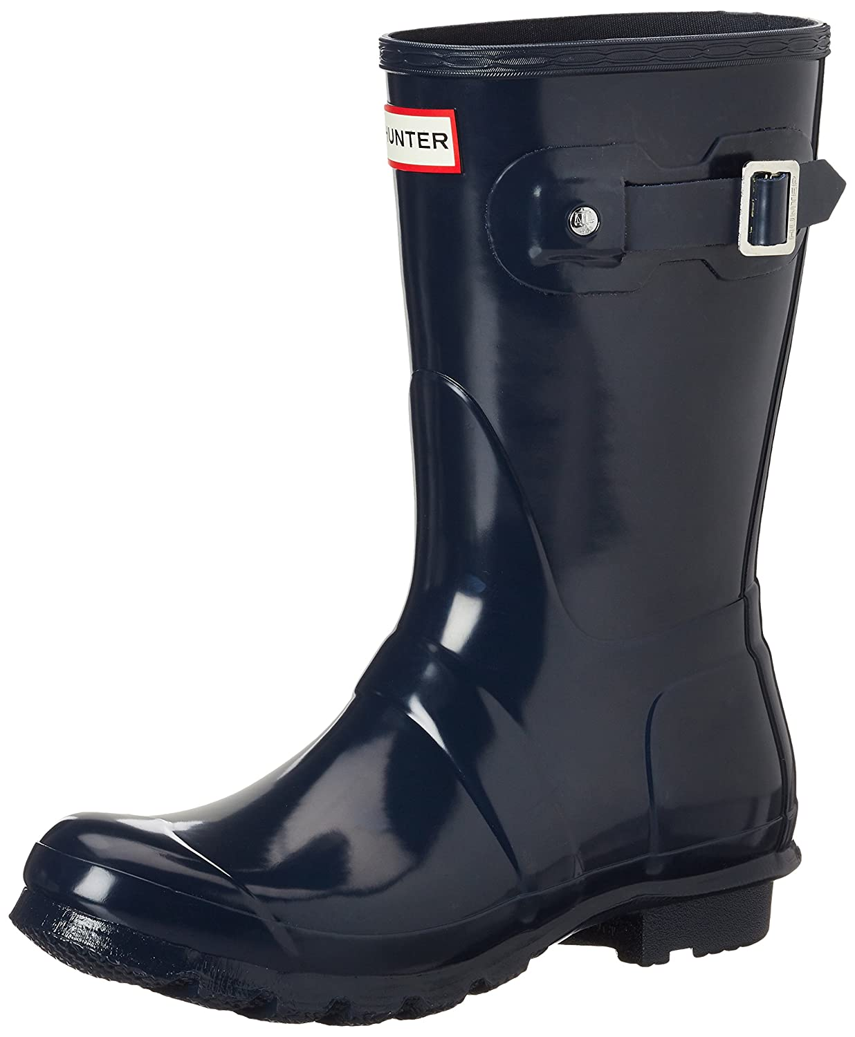 Hunter Women's Original Short Gloss Rain Boots B01LYEWSM4 5 B(M) US|Navy