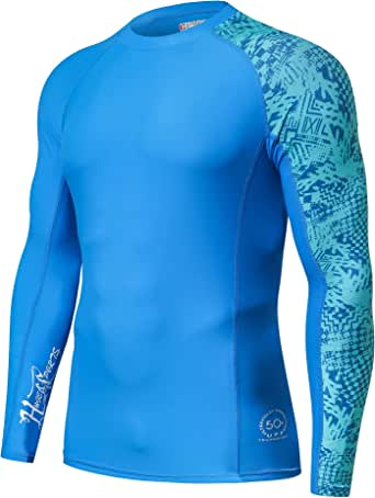 HUGE SPORTS Men's Splice Compression Rash Guard Long Sleeve Surf Wetsuit Swim Shirt UV Sun Protection UPF 50+