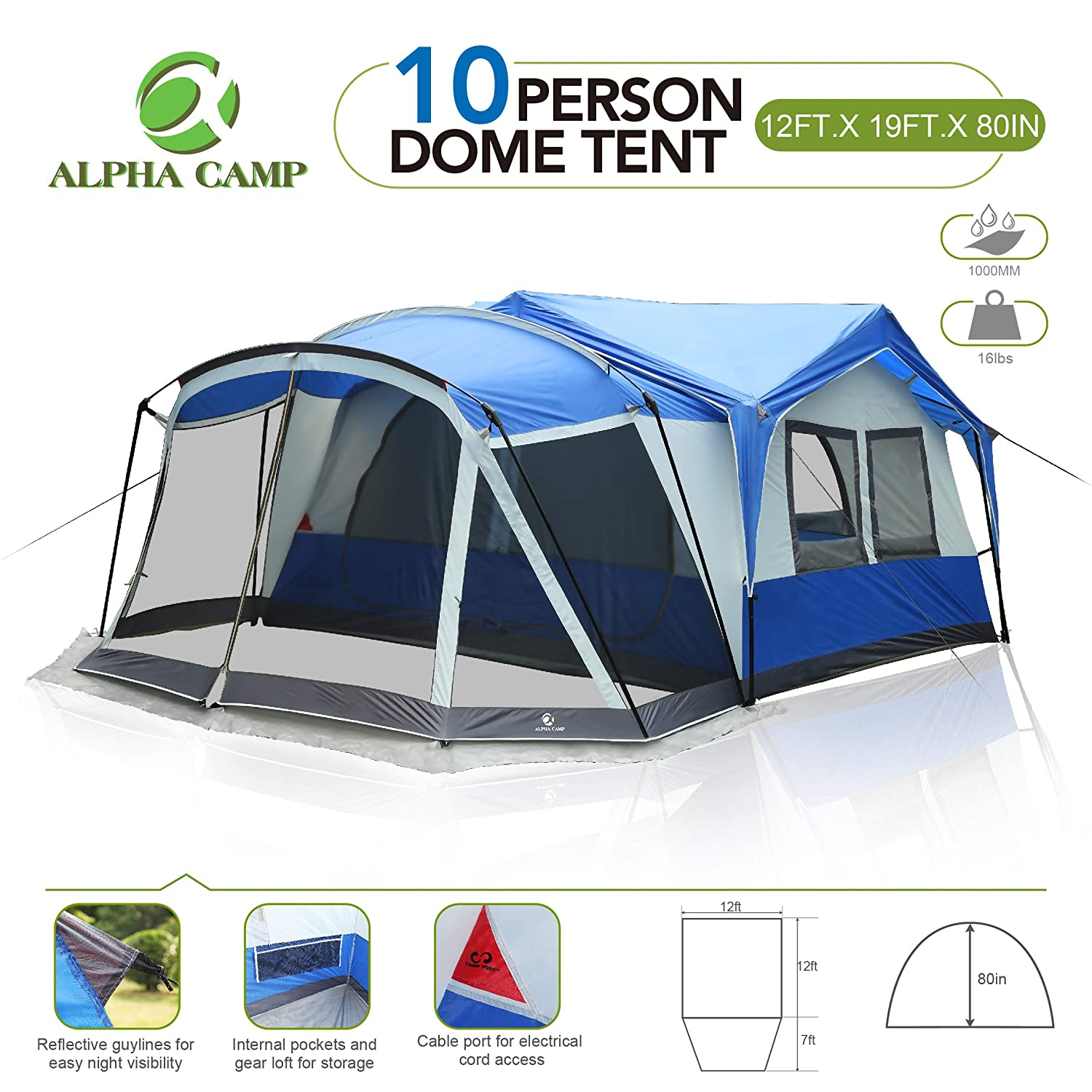 the latest 83e1d 8637d ALPHA CAMP 6 Person 10 Person Family Camping Tent Screen Room Cabin Tent  Design