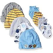 Gerber Baby Boys' 9 Piece Cap (0-6M) Mitten (0-3M) Bundle, Multi-Sport, Newborn