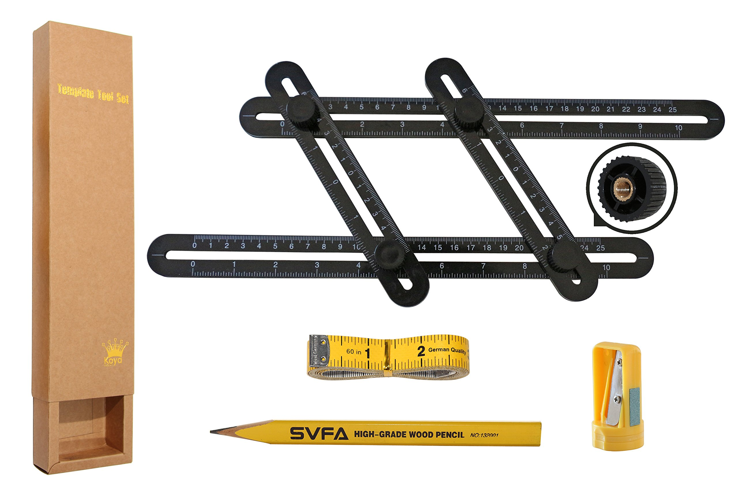 Template Tool kit Any-Angle Multi-Angle Measuring Ruler Set Perfect For Builders, Craftsmen, Handymen, Carpenters, Roofers, Tilers, DIY-ers & GREAT GIFT