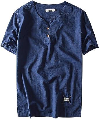 AIEOE Camisa para Hombre Verano Manga Corta Sin Cuello Tops Casual con Botones Lino Transpirable Elegante Confortable XL-5XL Blanco/Caqui/Azul: Amazon.es: Ropa y accesorios