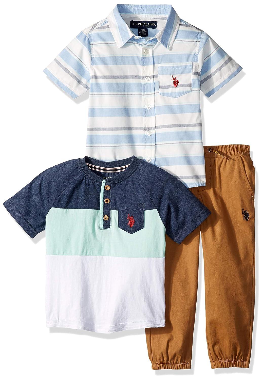 U.S Polo Assn Boys 2 Piece Sleeve Sport Shirt and Twill Short Set