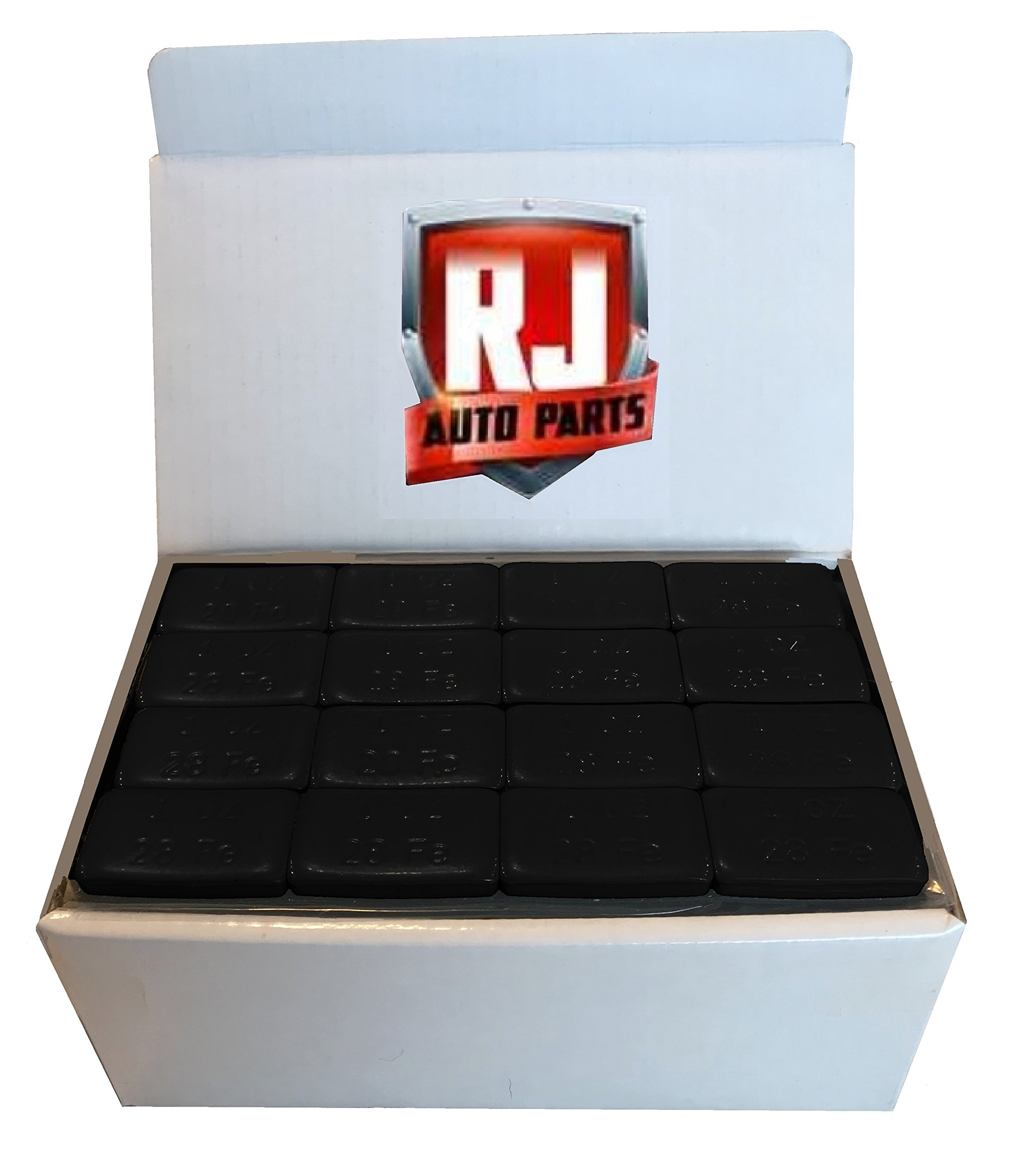 2 Boxes Wheel Weights, Black 1 oz, Stick-on Adhesive Tape, Lead Free, (18 lbs) 288 Pieces by RJ Auto Parts