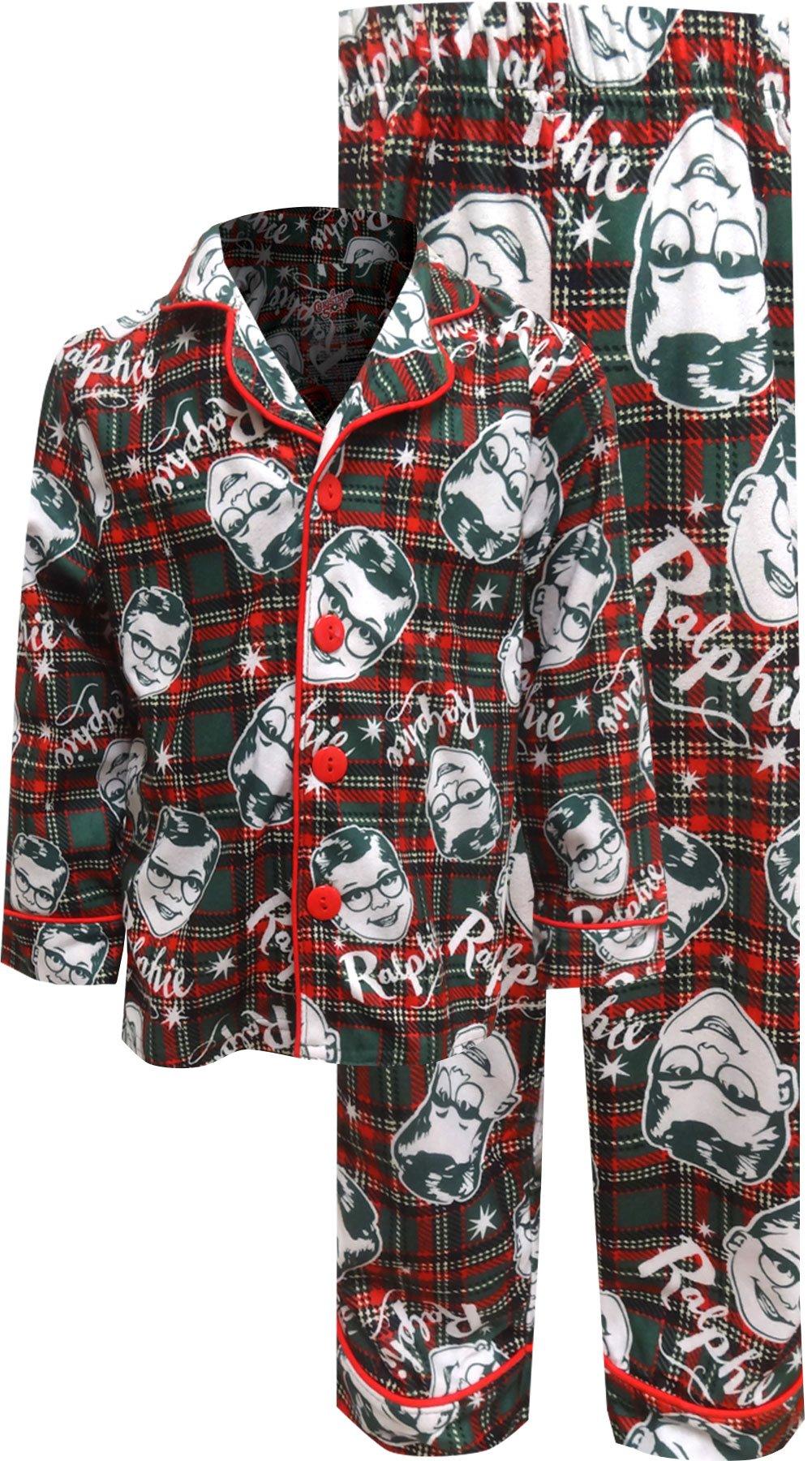 A Christmas Story Boys 'Ralphie Glasses Santa' Christmas Holiday Flannel Plaid Button Pajama Set, Green, 6/7