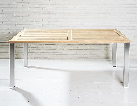 Estable mesa de jardín 160 x 90 cm de madera de madera de teca y acero