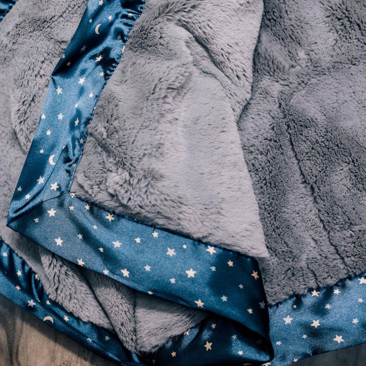 Saranoni Satin Border Receiving Blankets for Babies Super Soft Lush Luxury Baby Blanket (Gray Lush Navy Twinkle Star Satin Border, Receiving Blanket 30'' x 40'')