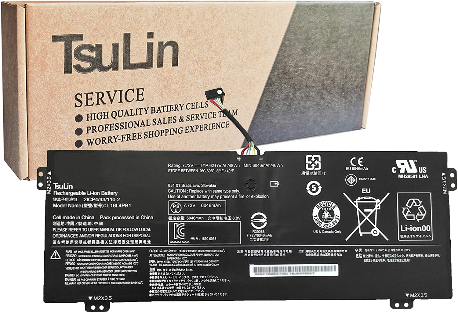 TsuLin L16L4PB1 Laptop Battery Compatible with Lenovo Yoga 720-13IKB 730-13IKB 730-13IWL Series Notebook L16C4PB1 L16M4PB1 5B10M52738 5B10M52739 5B10M52740 7.72V 48Wh 6217mAh