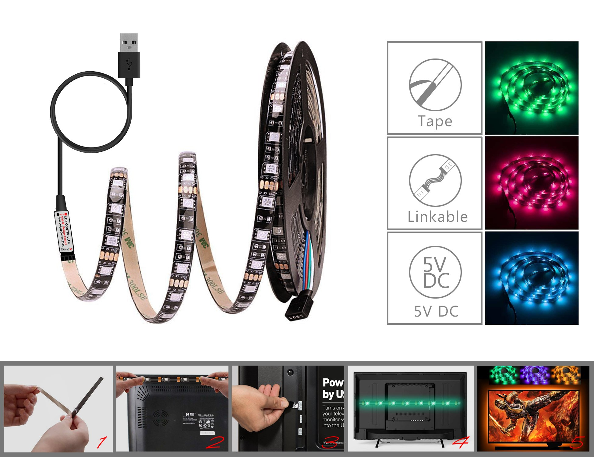 WYNK LED Strip Lights with Remote USB Back Light Fixture DIY 5050RGB Flexible 3.4M 104LED Color Changing Full Kit + 4 Connector + Remote Controller for Computer/TV/Home/Kitchen/Christmas Decorative by WYNK (Image #2)