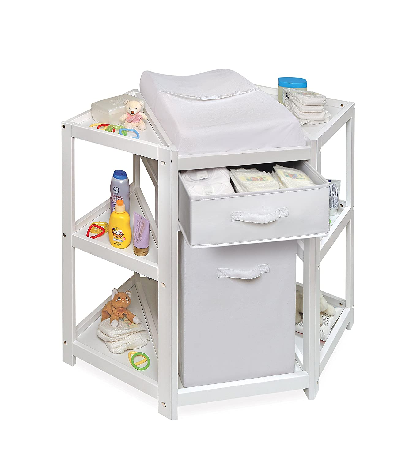 Elegant Amazon.com : Badger Basket Diaper Corner Baby Changing Table With  Hamper/Basket, White : Baby