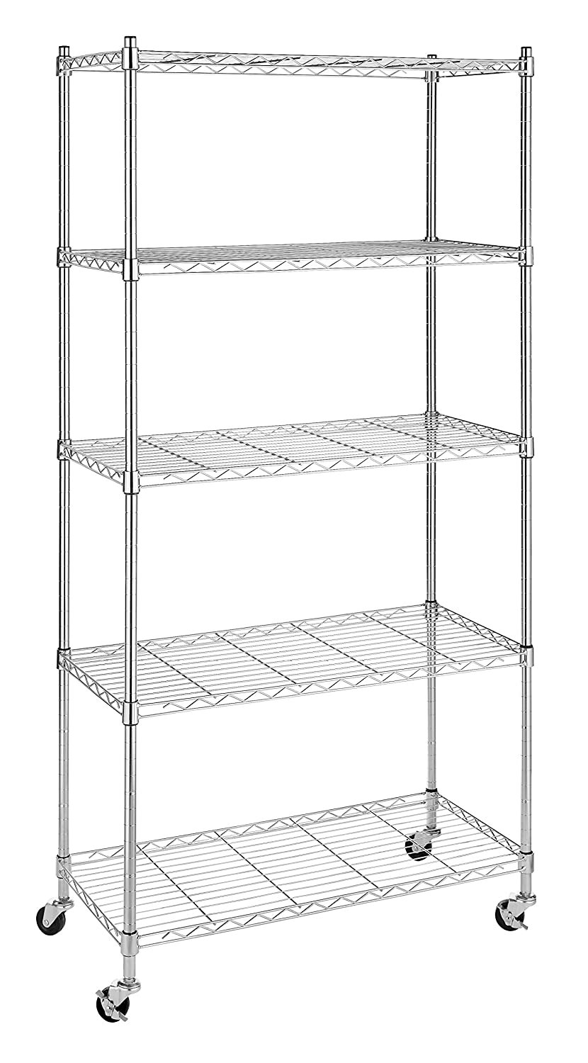 Whitmor Supreme 5 Tier Cart - Rolling Utility Organizer - Chrome