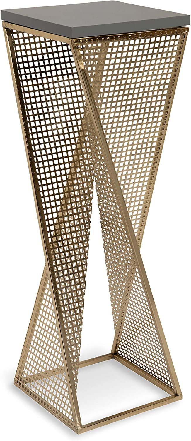 """Kate and Laurel Elita Gray Wood and Metal Pedestal End Table, 10"""" x 10"""" x 30"""", Gray and Gold, Chic Accent Table for Display and Serving"""