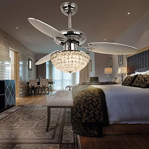 RainierLight Modern 48 Inch Crystal Ceiling Fan Lamp LED 3 Color Changing Light 3 Wood Reversible Blade