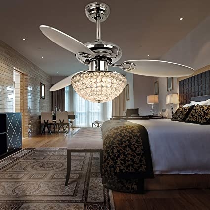 Rainierlight Modern 48 Inch Crystal Ceiling Fan Lamp Led 3 Color