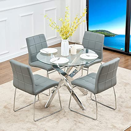 Awe Inspiring Gizza 90Cm Round Glass Mars Dining Table And 4 Sled Based Grey Faux Leather Chairs Set Crisscrossing Chrome Metal Legs Kitchen Room Furniture Dailytribune Chair Design For Home Dailytribuneorg