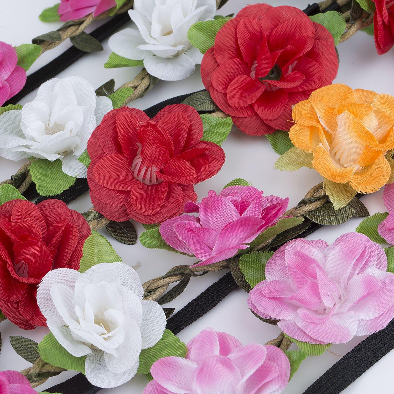 Stirnband Blumen ZWOOS 4 St/ück Stirnb/änder Krone Haarband Kopfband Blume Haarb/änder mit Elastischem Band f/ür Hochzeit und Party #12, gro/ße Gr/ö/ße