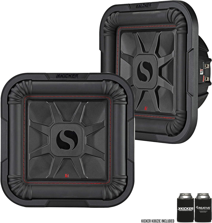 Kicker 46L7T104 Two L7T L7-Thin 10-Inch Dual Voice Coil 25cm Subwoofers 4-Ohm 500 Watts Each