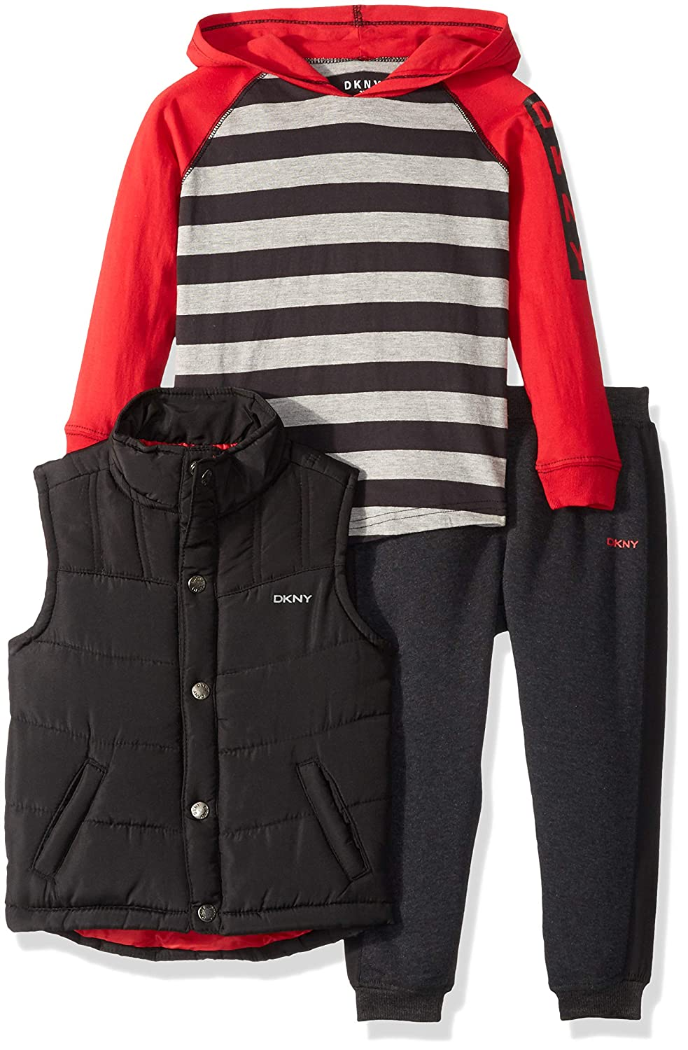 DKNY Boys' Clark Puffer Vest, Hoodie and Jog Pant, DB_0452