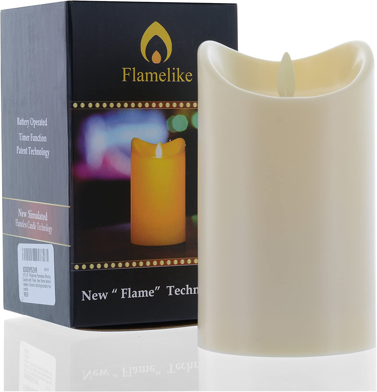 Amazon Com Flamelike Candles Flameless Candle With Timer Non Wax Unscented Led Moving Wick Flame Battery Operated Realistic Best Flickering Action Home Improvement