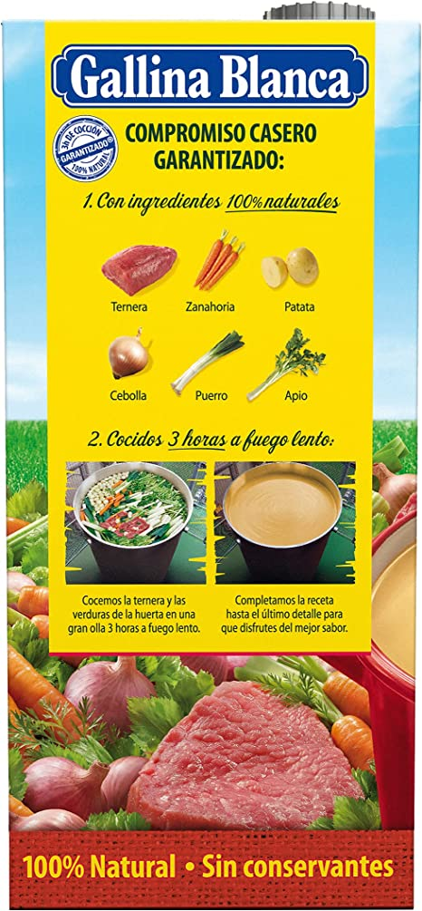 Gallina Blanca Caldo Casero de Carne, 100% Natural, 1L ...