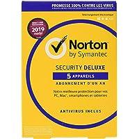 Symantec Norton Security Deluxe 3.0 Base license 5  dispositivos 1año Francés - Seguridad y antivirus 2019, PC / Mac / iOS / Android, descarga