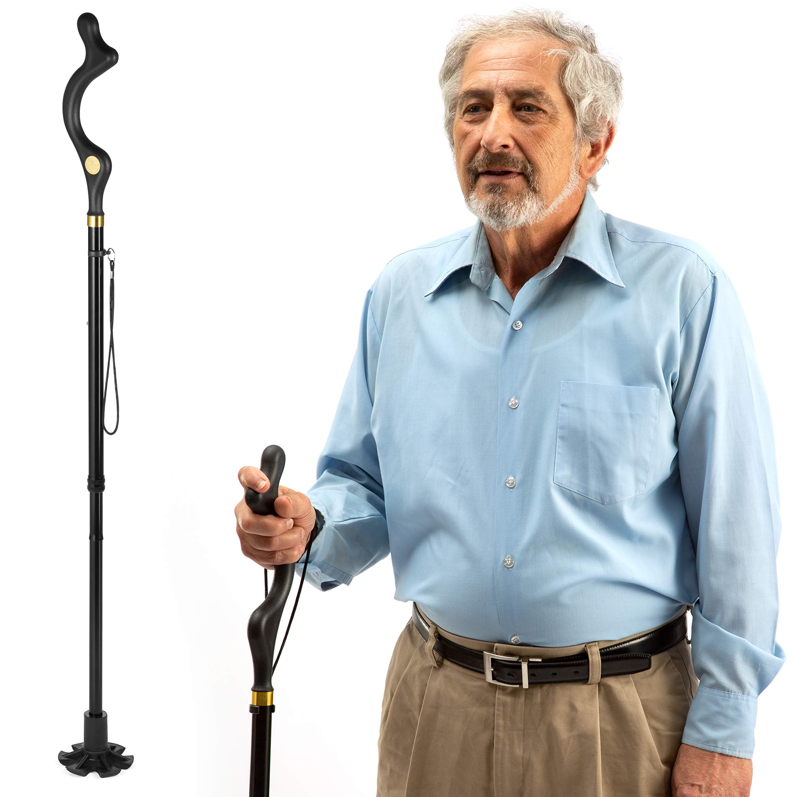 walking cane for men and walking canes for women special balancing - cane walking stick have 10 Adjustable Heights - self standing folding cane, portable collapsible cane, Comfortable