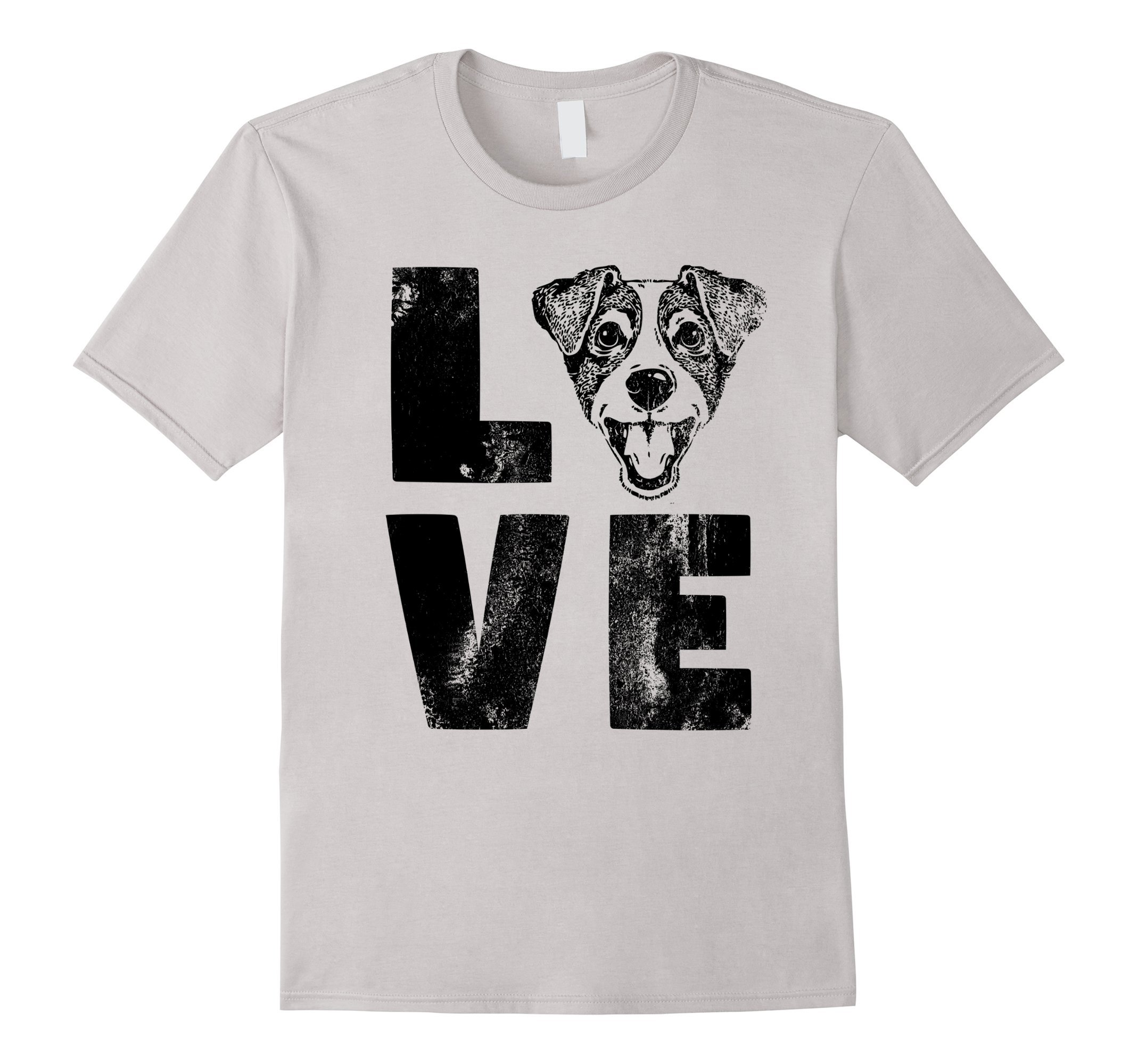 Mens Dog Shirt Love Jack Russell Terrier Shirt Dog Lovers Shirt Large Silver