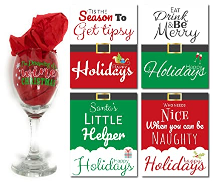 Amazon Com Christmas Wine Glass And Bottle Labels Set Dreaming Of