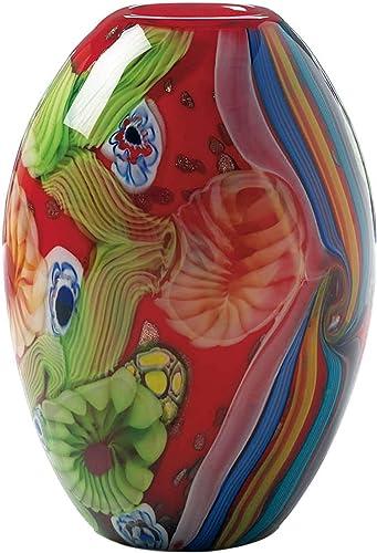 Accent Plus Red Floral Flow Glass Vase 6.5×6.5×9.25