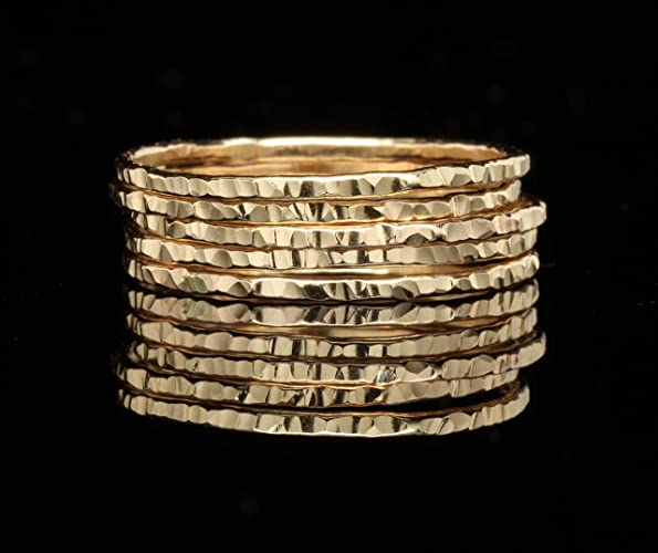 delicate stacking rings u2013 hammered 14k yellow gold fill sold per ring custom made