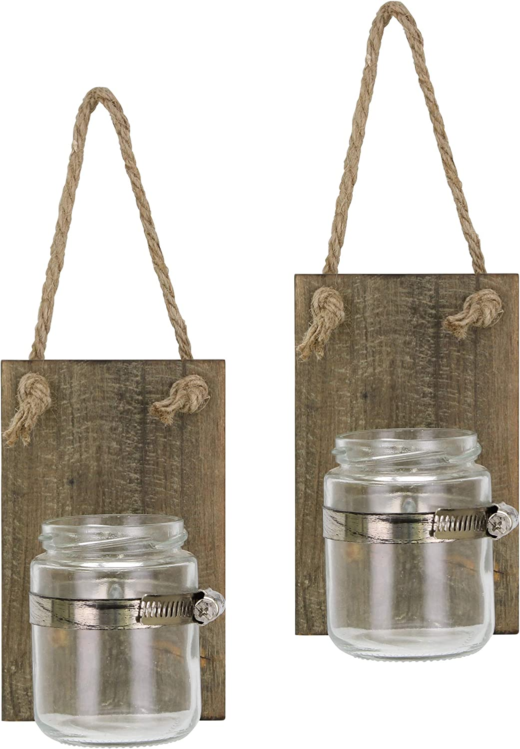Stonebriar Rustic Natural Wood Mason Jar Wall Sconce Set with Hanging Loop, Set of 2,Brown