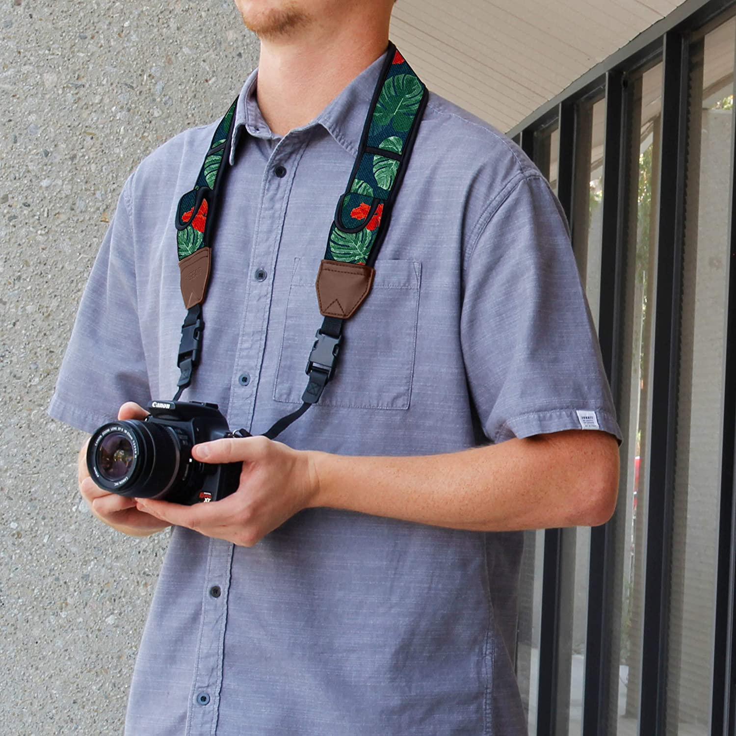 Mirrorless Sony and More DSLR Nikon USA GEAR TrueSHOT Camera Strap with Galaxy Neoprene Pattern Fujifilm Compatible With Canon Cameras Accessory Pockets and Quick Release Buckles