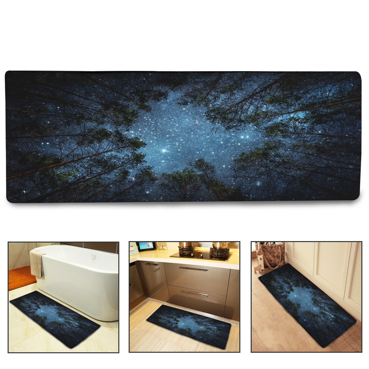 QIYI Bath Mat Rug Super Soft Non-Slip Machine Washable Quickly Drying Antibacterial, for Office Door Mat, Kitchen Dining Living Hallway Bathroom 16x48-The Forest Under The Stars HY 662225141526