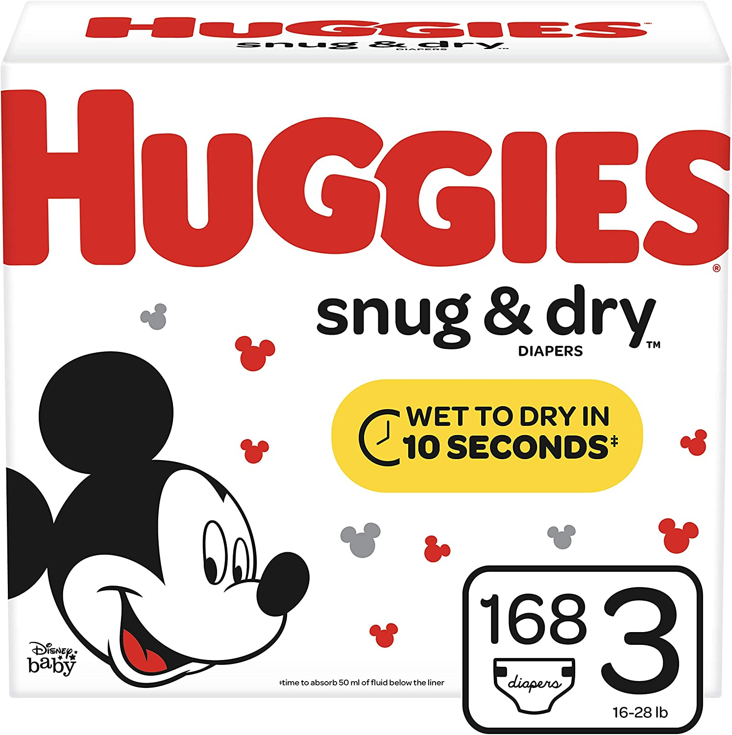 Huggies Snug & Dry Diapers, Size 3 (16-28 lb.), 168 Ct, Giant Pack (Packaging May Vary)