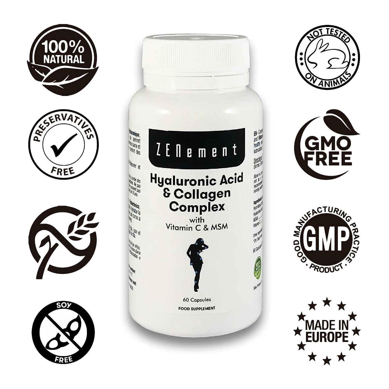 Ácido Hialurónico y Colágeno Complex con MSM y Vitamina C, 60 cápsulas, para combatir los efectos de la edad y tener una piel y articulaciones fuertes y ...