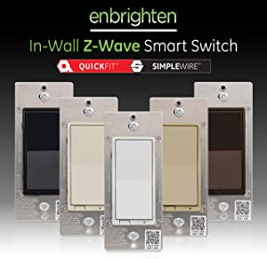 GE Enbrighten Z-Wave Plus Smart Light Switch with QuickFit and SimpleWire, Compatible with Alexa, SmartThings, Wink, Zwave Hub Required, ON/OFF Control, Repeater/Range Extender, 3-Way Ready, 46201