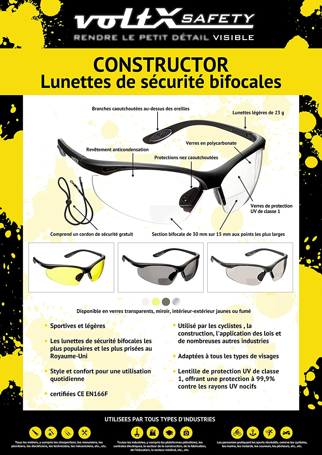 Anti Fog Coated UV400 lens Clear Frame, Clear Lens +2.5 Dioptre voltX CONSTRUCTOR ULTIMATE Bifocal Reading Safety Glasses CE EN166FT certified PREMIUM Cycling Sports Bifocals