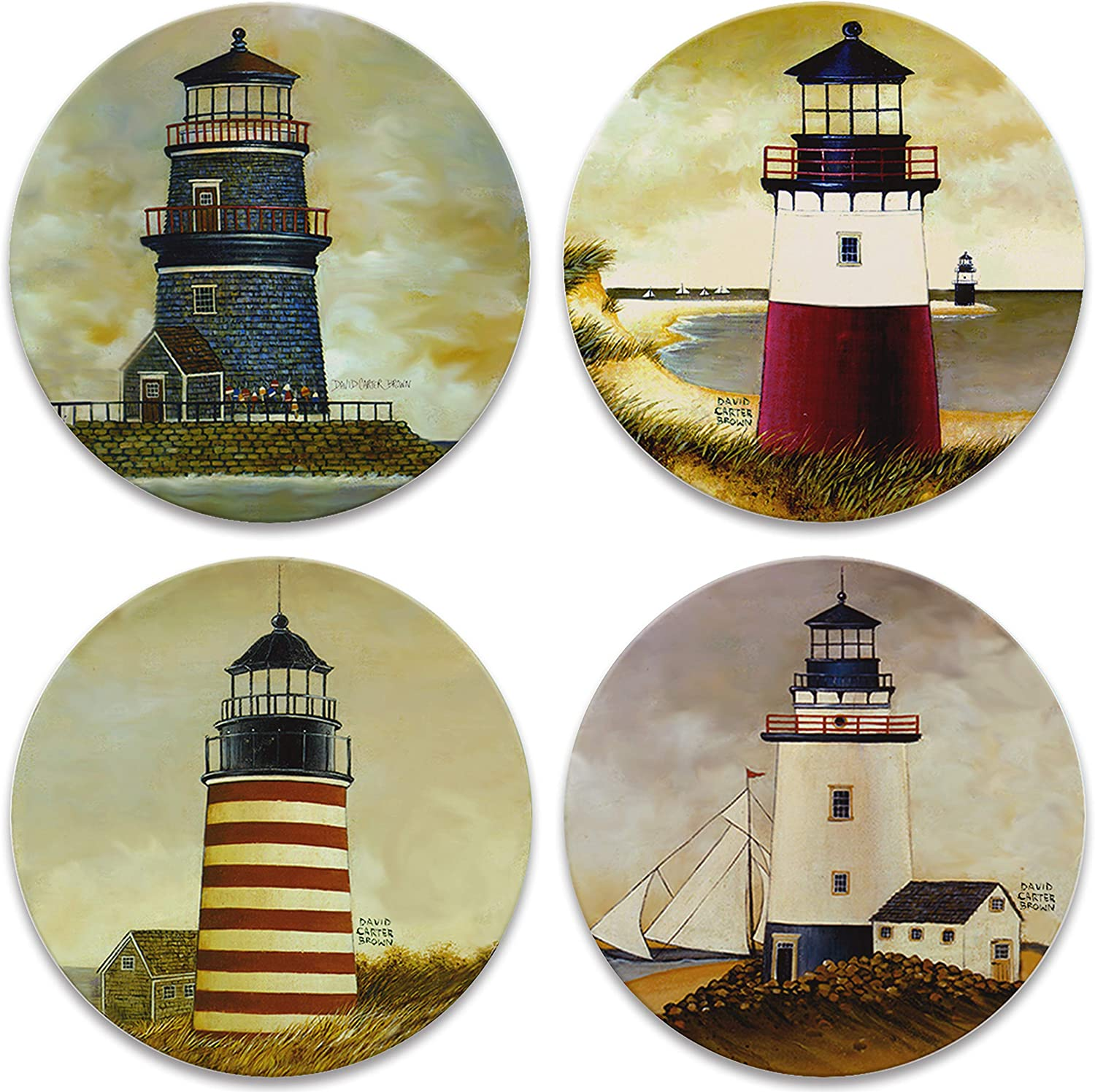 """CoasterStone Absorbent Coasters, 4-1/4-Inch, """"Lighthouses"""", Set of 4"""