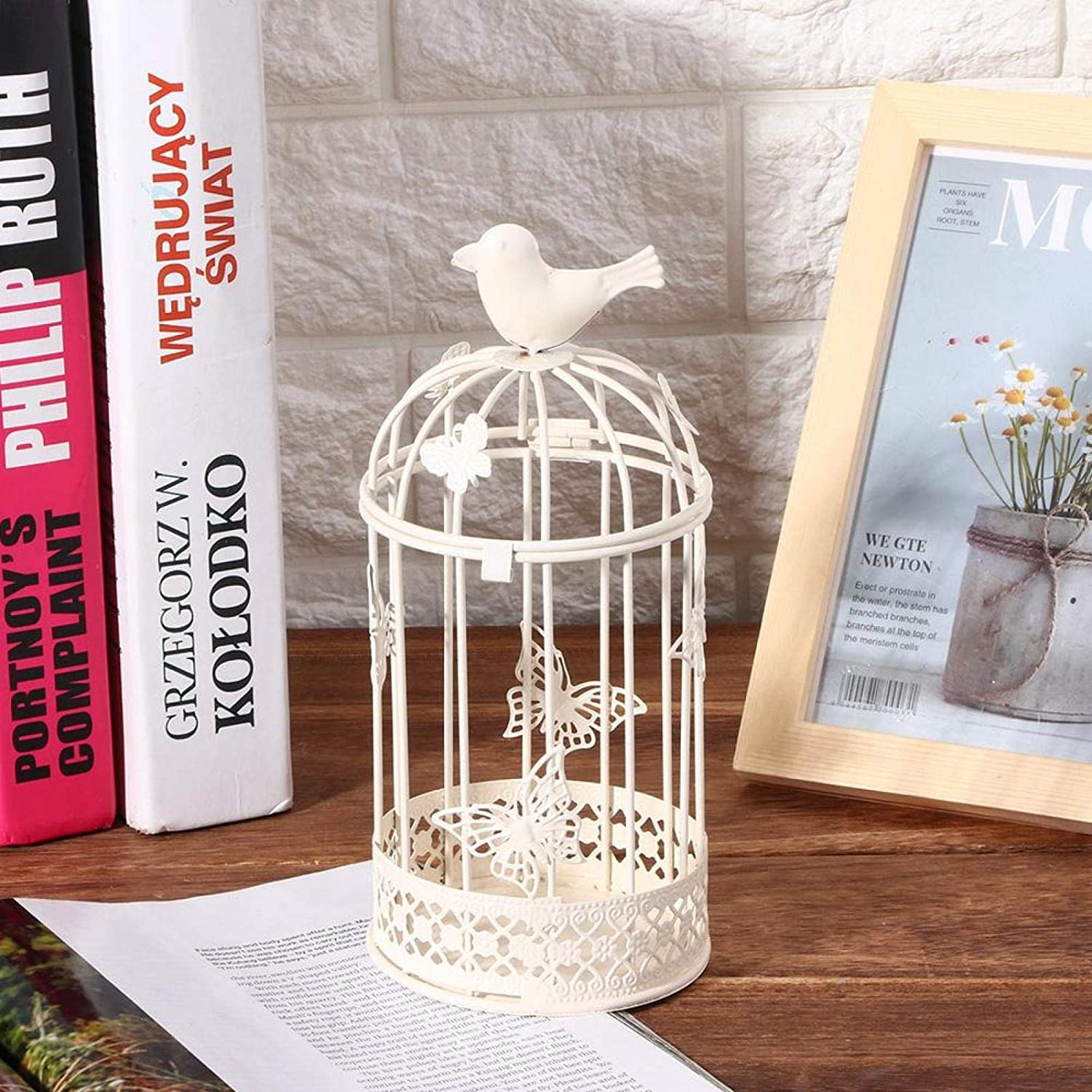 Retro Decorative Bird Cage Hanging Candle Holders Lantern Hollow Out Vintage for Home Decor Wedding Ornament Table Desk(White)